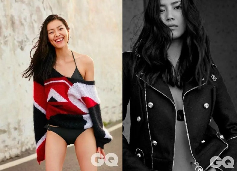 Liu Wen exudes pure cool in a leather jacket