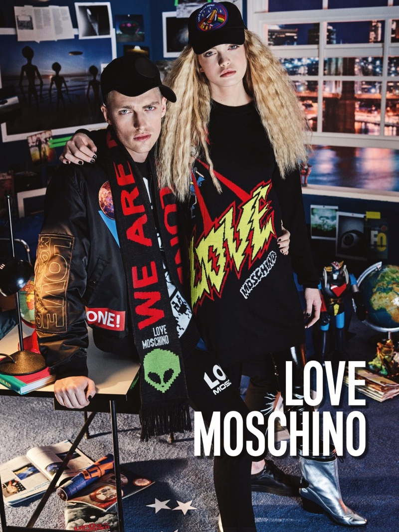 Victor Nylander and Ella Wennstrom star in Love Moschino's fall-winter 2016 campaign