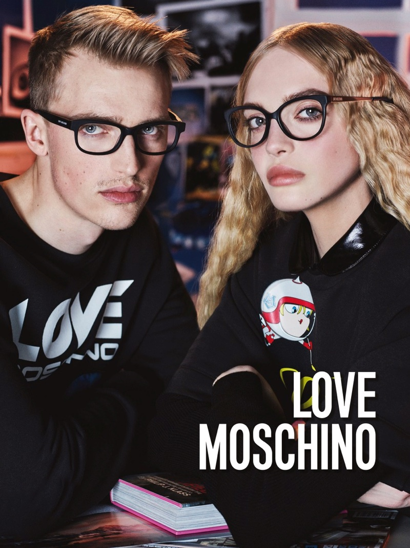 Love Moschino features black optical frames in fall 2016 campaign