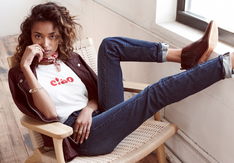 Anais Mali wears Madewell washed leather motorcycle jacket