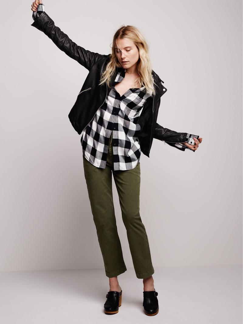 Madewell Washed Leather Moto Jacket, Slim Ex-Boyfriend Shirt, The Cruiser Straight Chino and Classic Clog