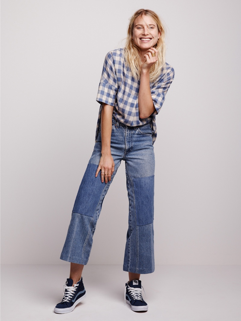 Madewell Courier Button-Back Shirt, B Sides Reworked Jeans and Madewell x Vans High-Tops