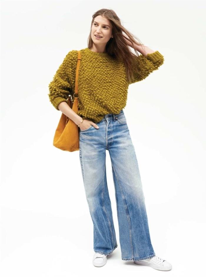 Madewell Fall 2016: Textured sweater, satchel bag and wide-leg denim