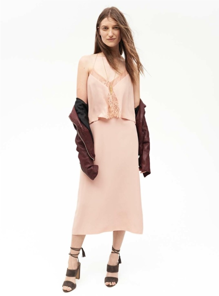 Madewell Fall 2016: Leather jacket, camisole top, mid-length skirt