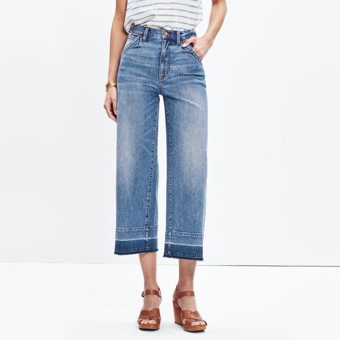 Madewell Wide Leg Crop Jeans Drop Hem Edition