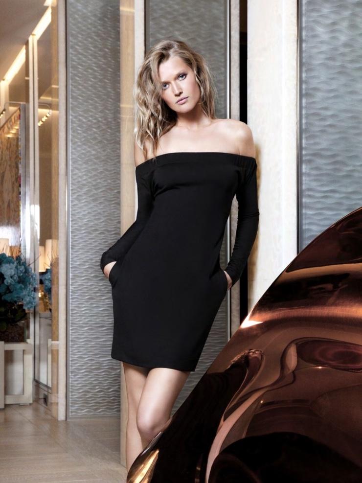 Toni Garrn models off-the-shoulder dress from Maison Siran