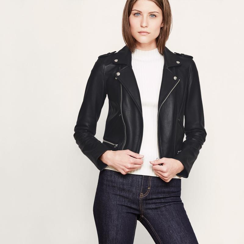Maje Basalt Leather Quilted Jacket
