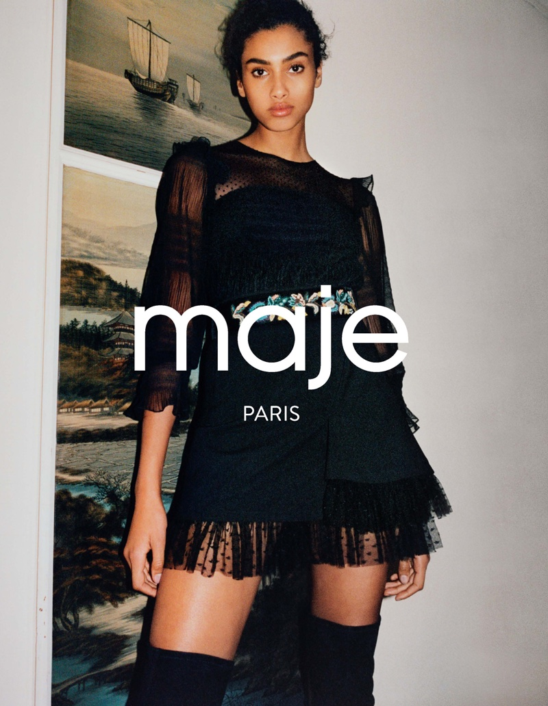 Maje's fall-winter 2016 spotlights a black top and skirt with lace