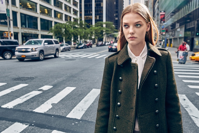 Roos Abels wears military inspired coat in Mango's fall campaign
