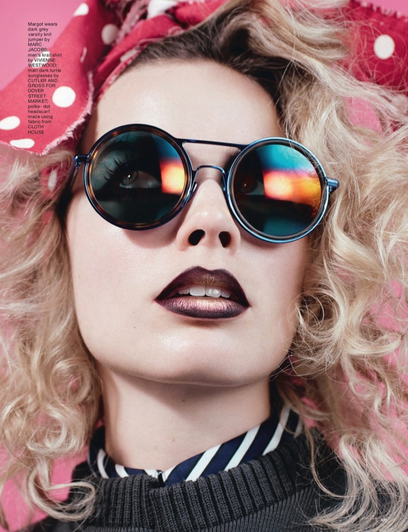 Margot Robbie poses in Cutler and Gross shades