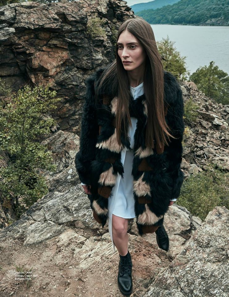 Marine Deleeuw poses in DKNY dress, Coach 1941 dress and ankle boots from Frye