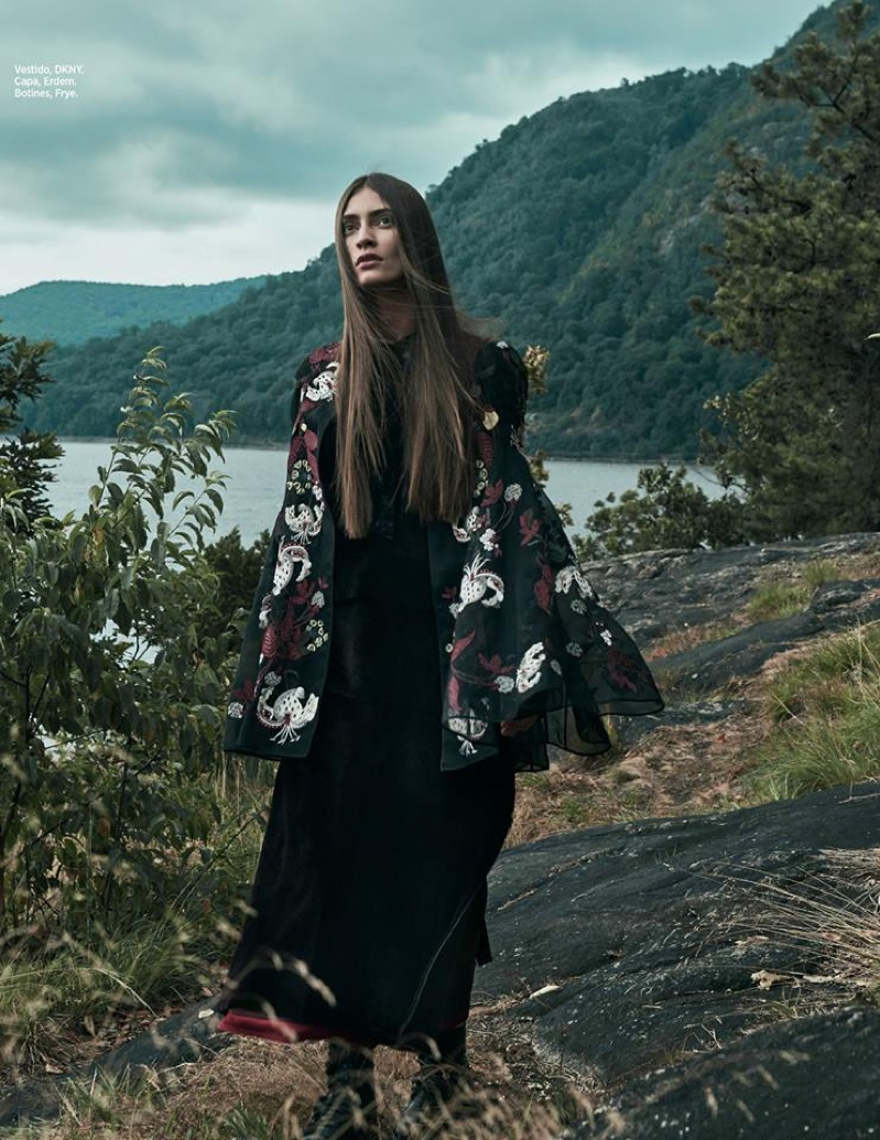 Marine Deleeuw models DKNY dress, Erdem cape and Frye ankle boots