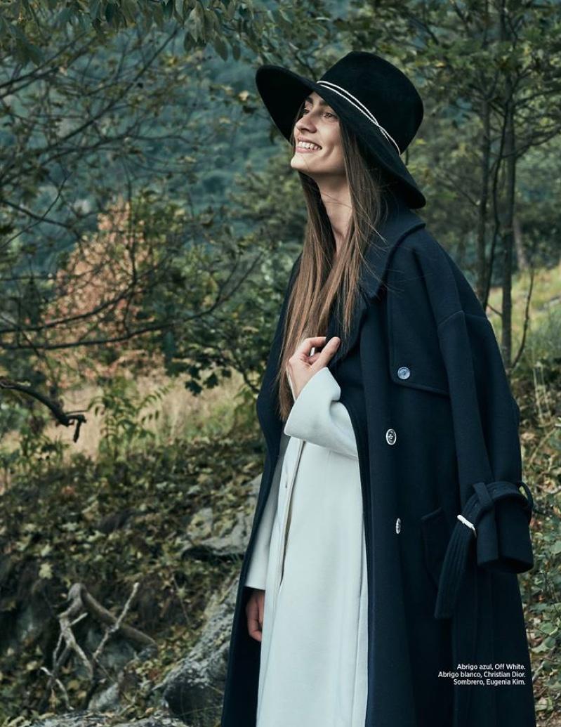 Marine Deleeuw wears Off White coat, Dior coat and Eugenia Kim hat