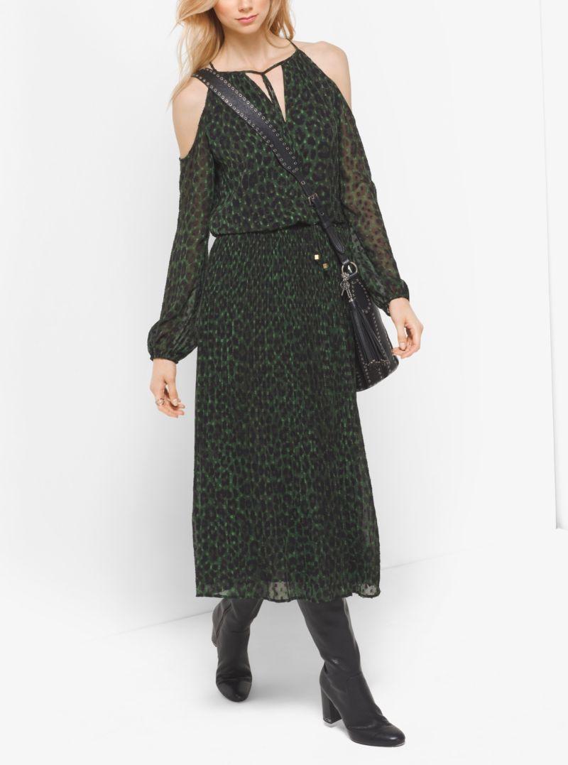 Michael Michael Kors Peekaboo Cheetah Print Georgette Tie-Neck Dress