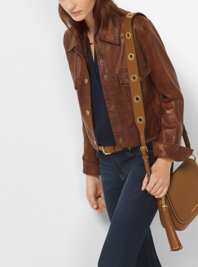 Michael Michael Kors Shrunken Leather Jacket