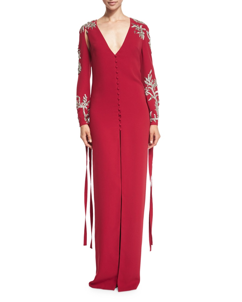 Monique Lhuillier Sequined Long Sleeve Tie Cuff Gown