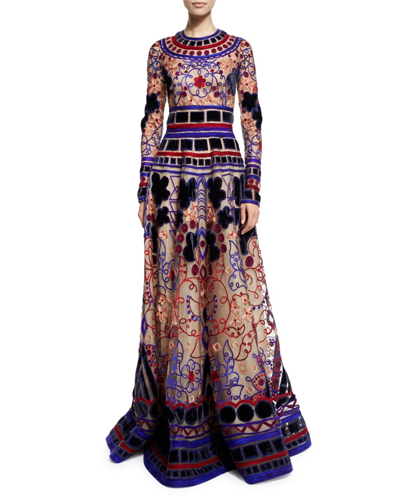 Naeem Khan Long Sleeve Geometric Applique Gown