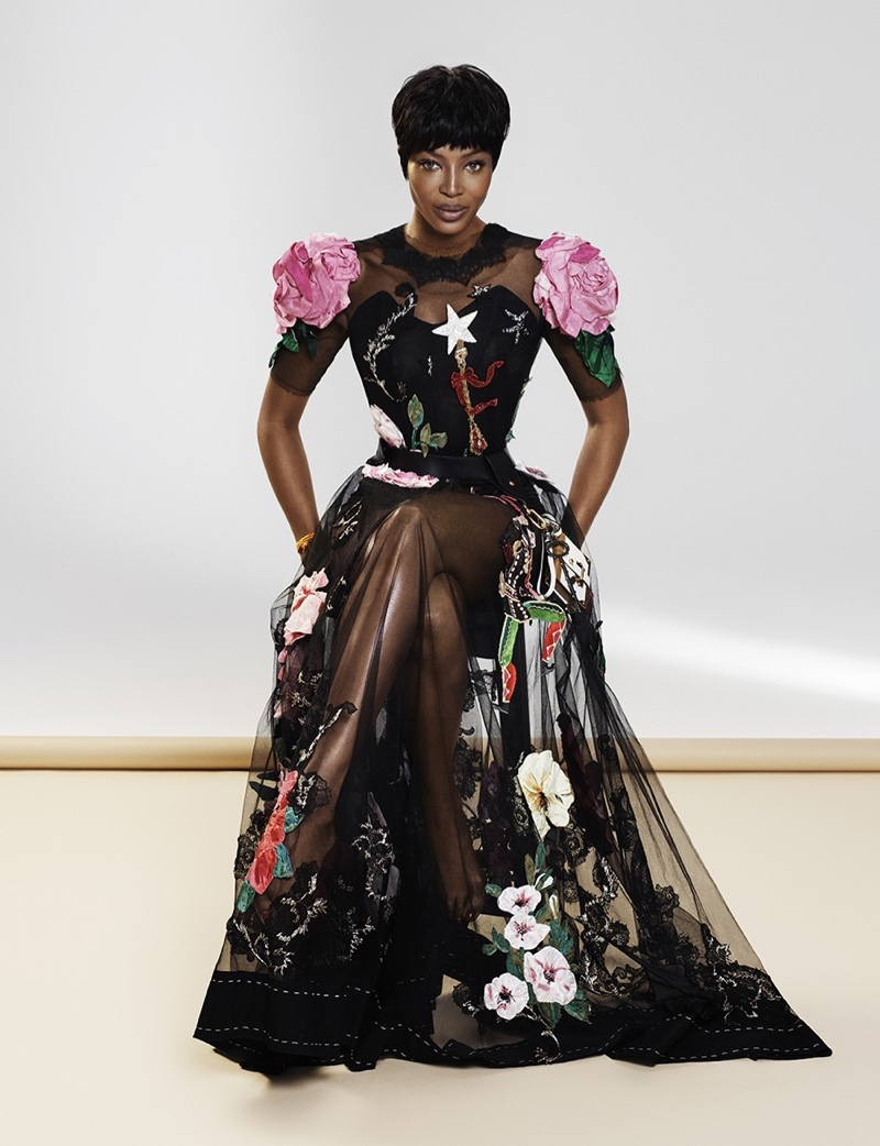 Naomi Campbell models embroidered Dolce & Gabbana gown