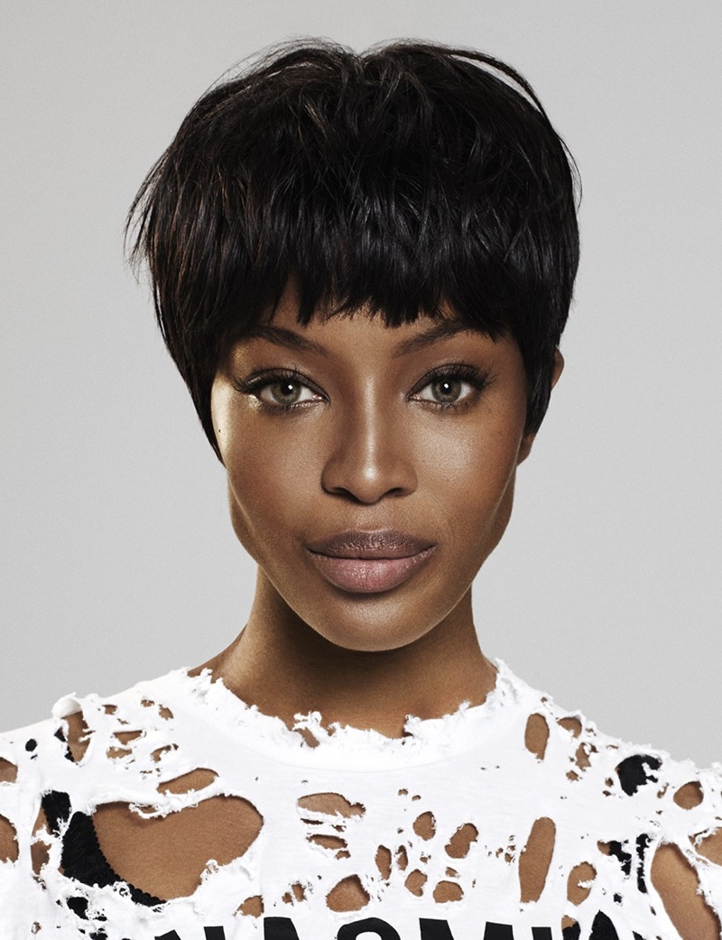 Naomi Campbell wears a pixie haircut