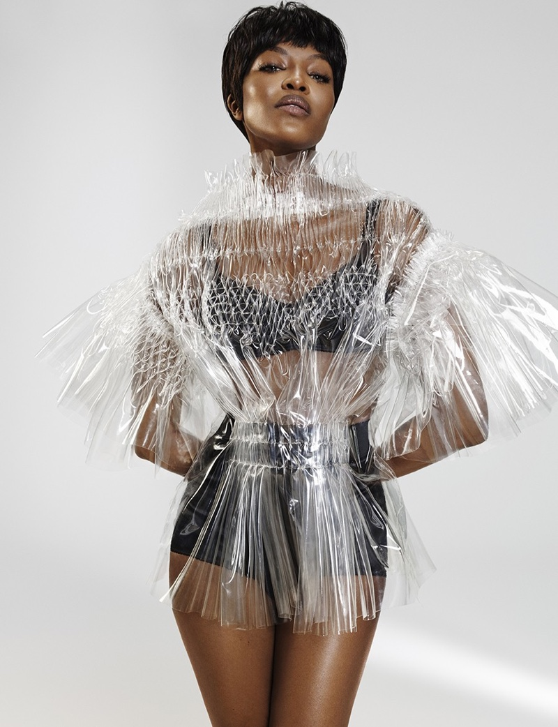 Naomi Campbell flaunts some leg in Maison Margiela Artisanal top with Dolce & Gabbana underwear