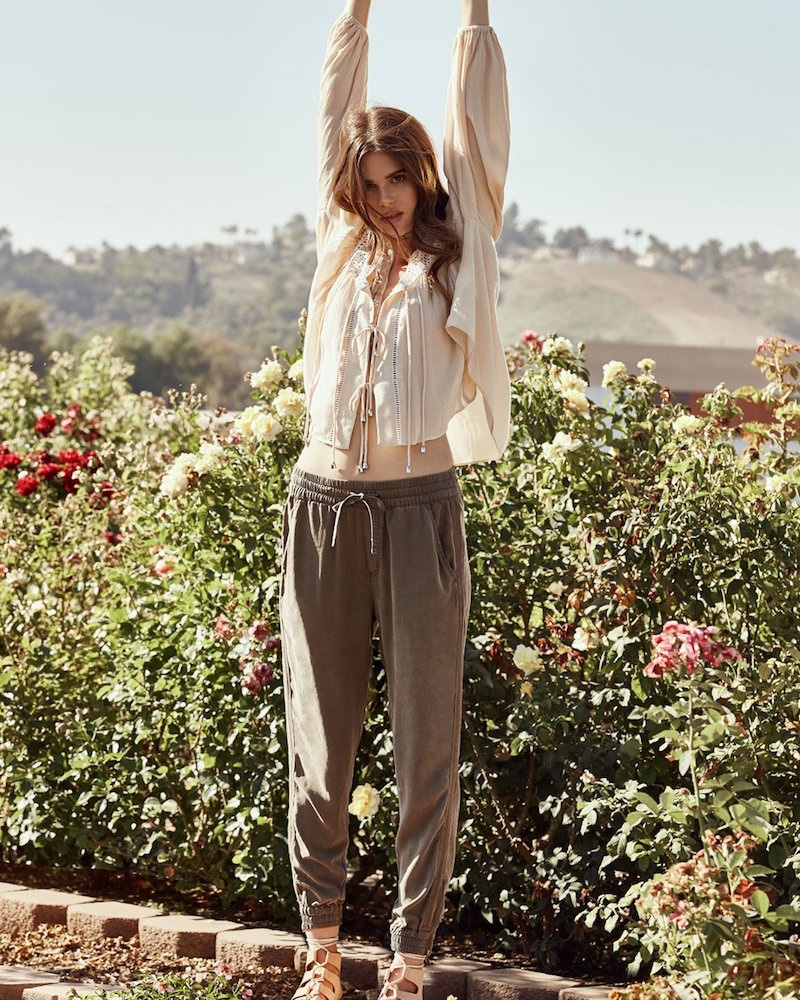 Nasty Gal Refuge of the Roads Tie Top, Nasty Gal Drawn Together Drawstring Pants and Jeffrey Campbell Ximeno Leather Flatform