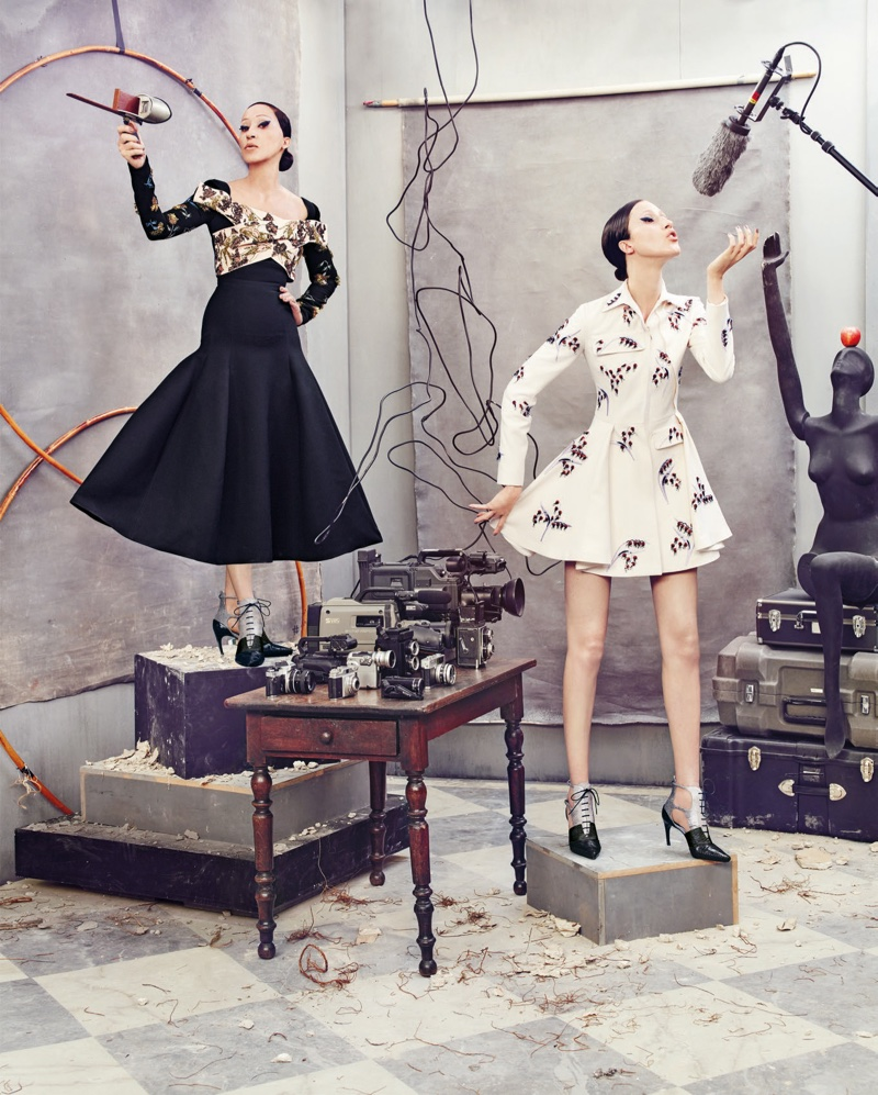 Pat and Anna Cleveland model Dior dresses in Neiman Marcus' Art of Fashion campaign