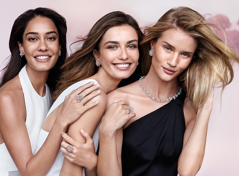 Models Lisa Haydon, Andreea Diaconu and Rosie Huntington-Whiteley appear in Indian jeweler's Nirav Modi's latest campaign