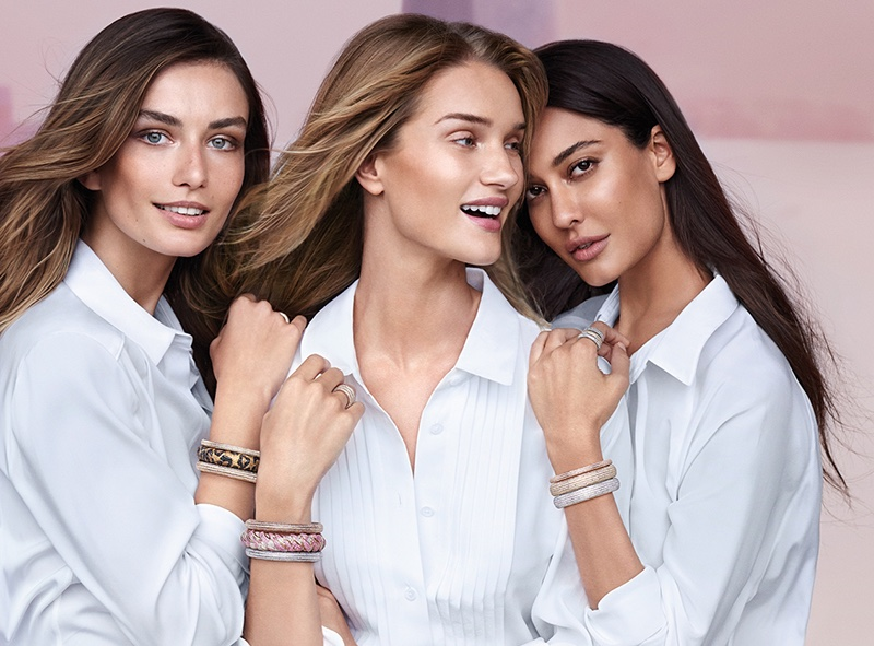 Models Andreea Diaconu, Rosie Huntington-Whiteley and Lisa Haydon are all smiles in Nirav Modi's fall advertising campaign