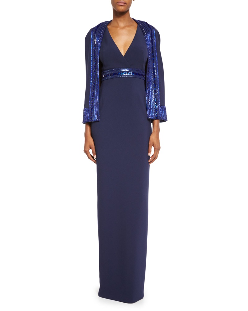 Pamella Roland Crepe Column Gown with Sequined Capelet