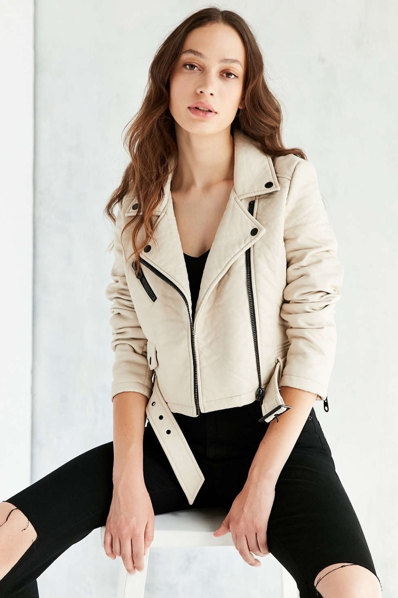 Members Only Pebbled Vegan Leather Jacket in Cream