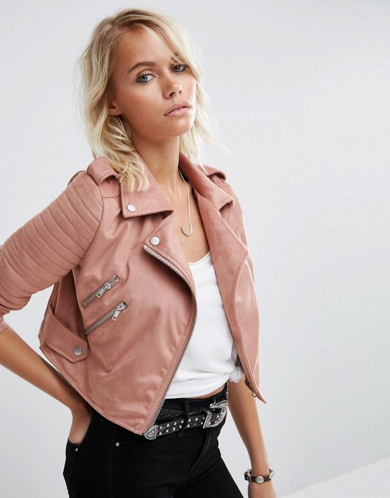 ASOS Pink Faux Suede Biker Jacket
