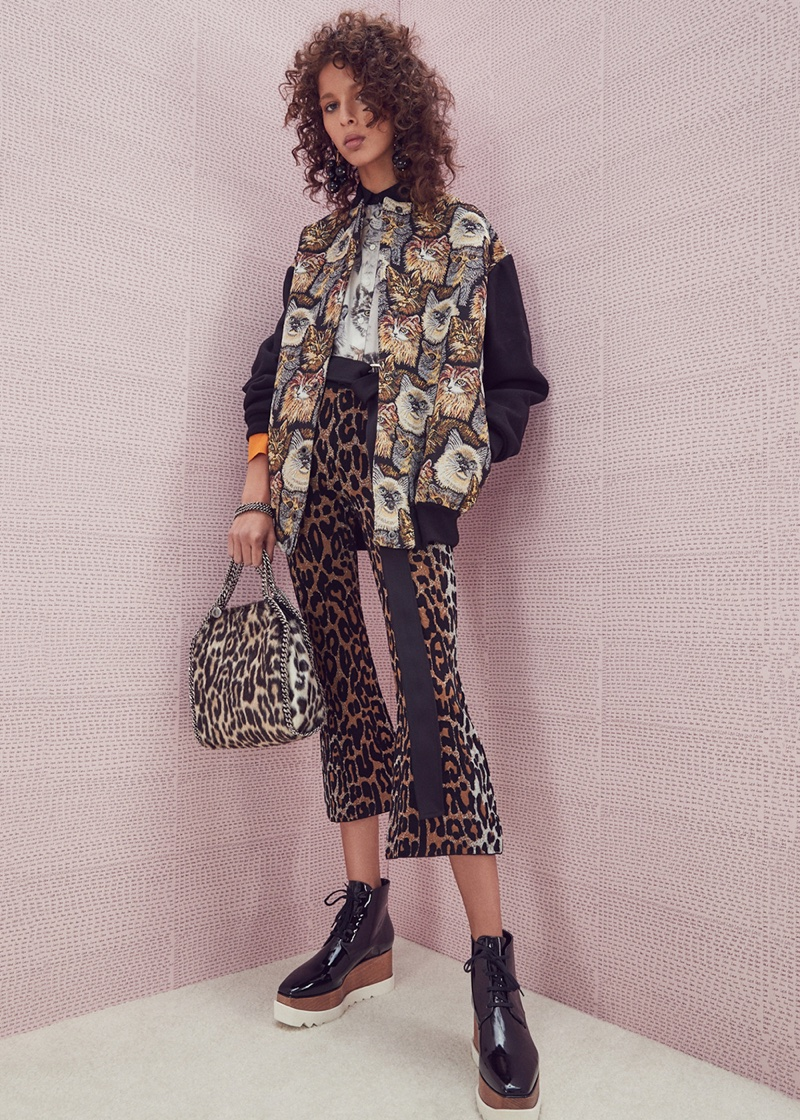 Stella McCartney Cat Embroidered Bomber, Cat Print Blouse, Cheetah Trousers, Mini Leopard Bella Bag and Elyse Platform Boots; Marni Resin Earrings and Belt