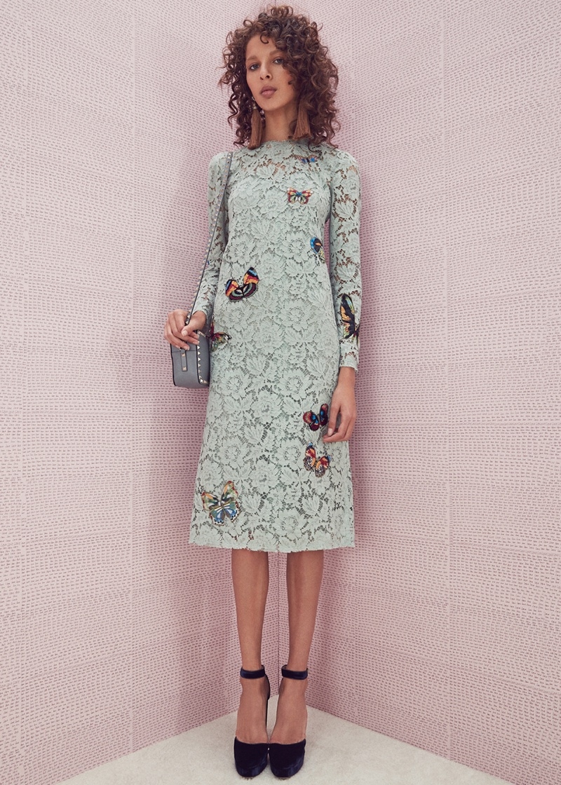 Valentino Long Sleeve Embroidered Dress, Jimmy Choo Velvet Daphne Heels, Valentino Rockstud Crossbody Bag and Lanvin Tassel Earrings