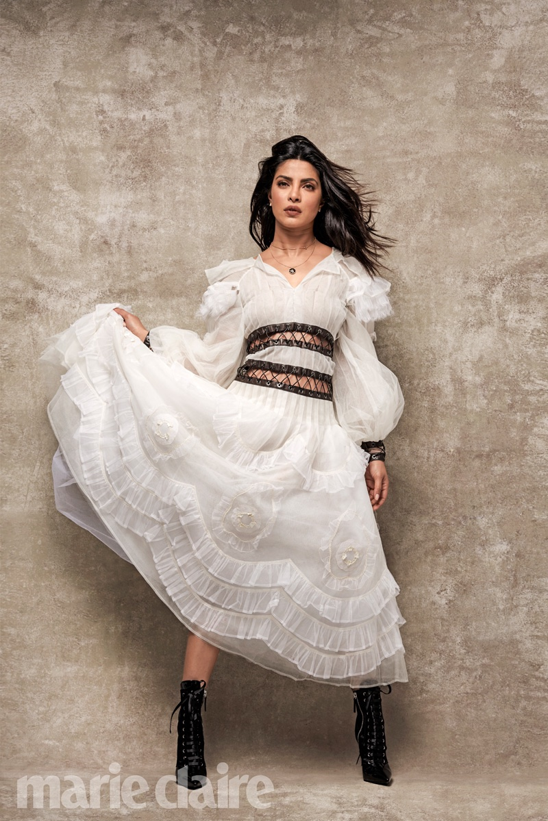 Priyanka Chopra poses in Chanel dress with ruffles and lace-up details at the midsection