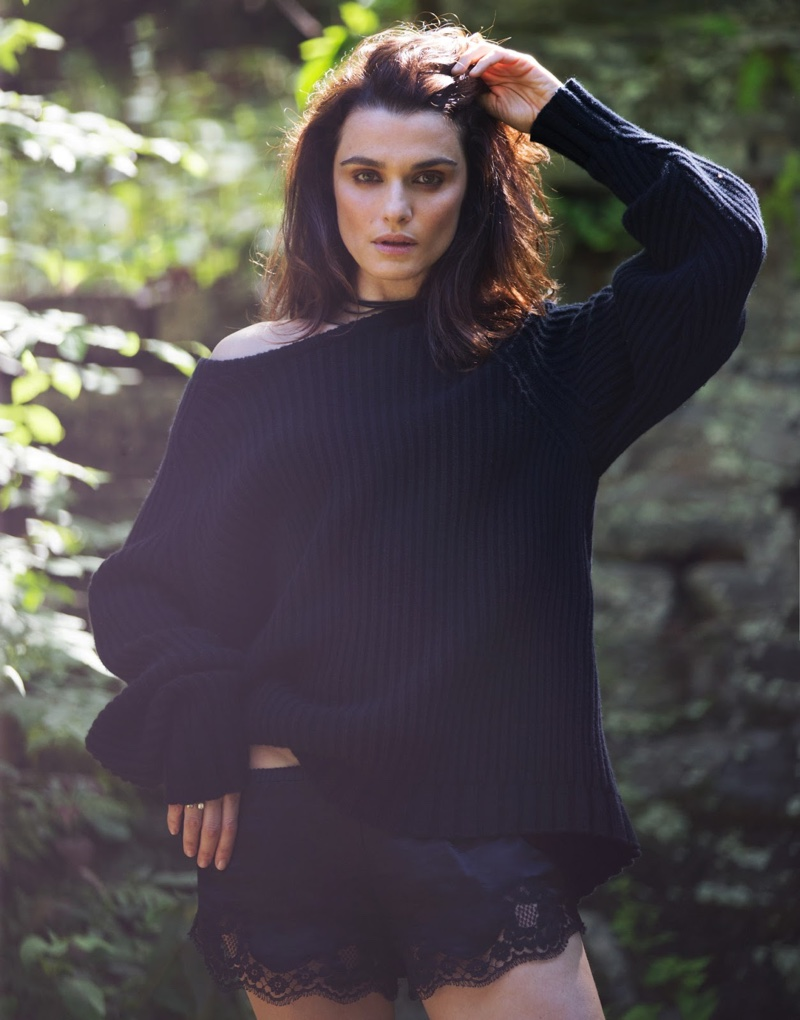 Rachel Weisz keeps it natural in The Row oversized sweater and Dolce & Gabbana briefs