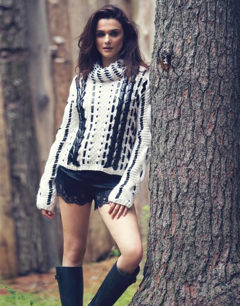 Actress Rachel Weisz flaunts some skin in Altuzarra sweater, Dolce & Gabbana briefs and Saint Laurent rain boots