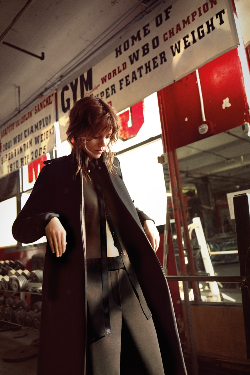 Freja Beha Erichsen wears a long coat from Rag & Bone