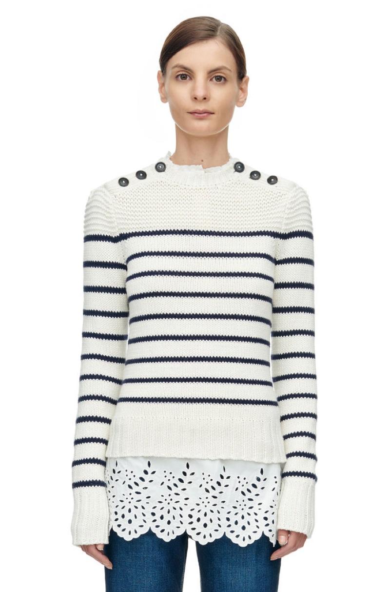 Rebecca Taylor La Vie Cotton Stripe Pullover Sweater