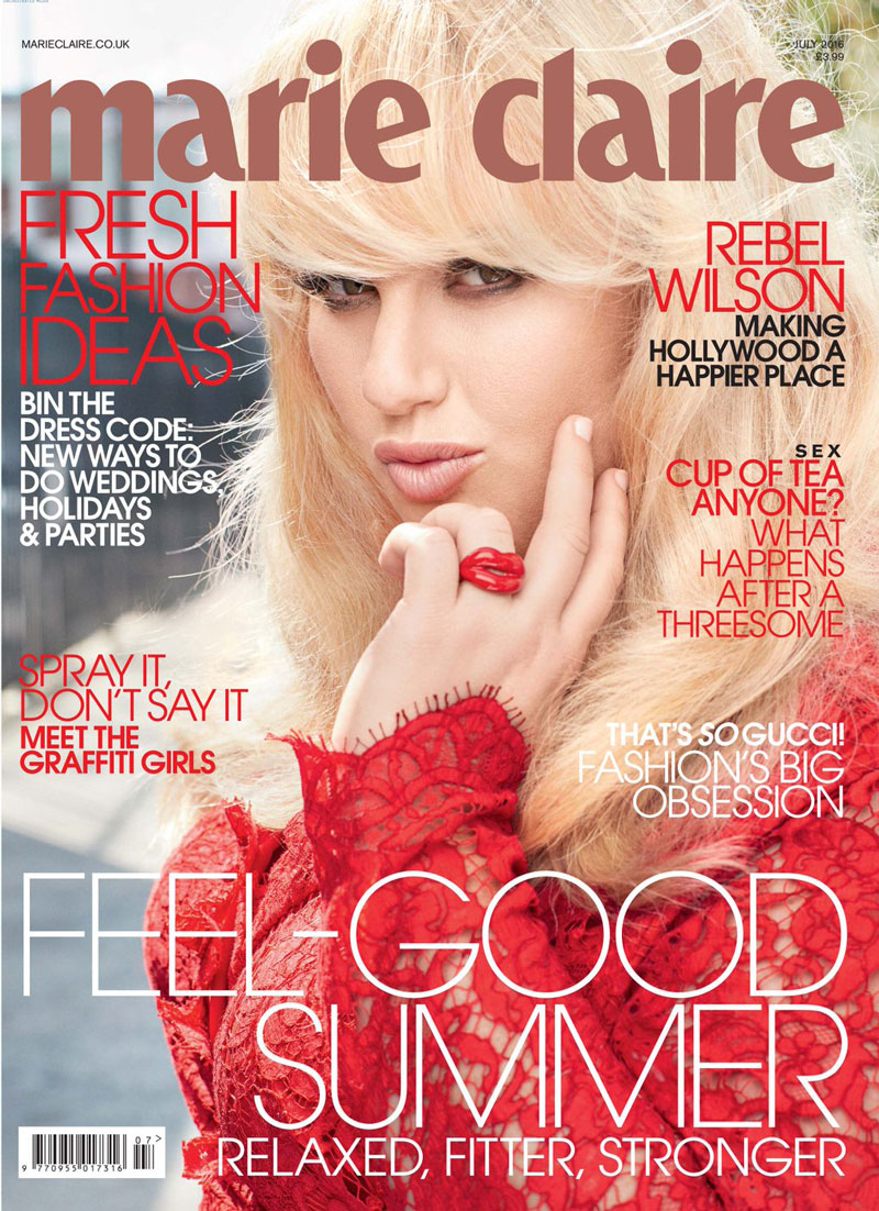 Rebel Wilson on Marie Claire UK July 2016 Cover