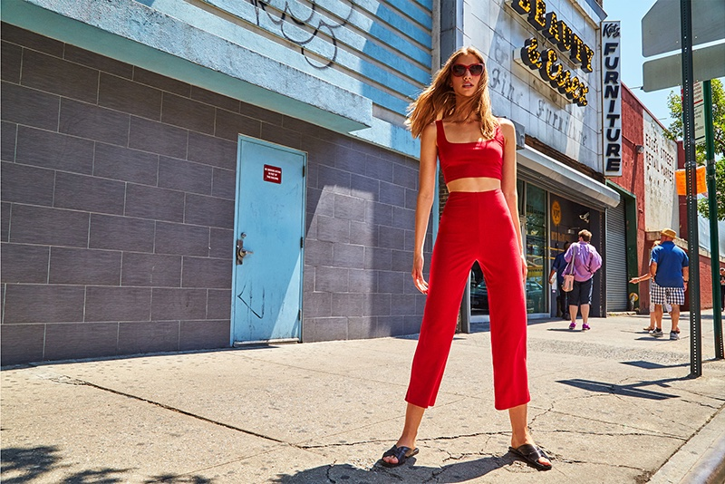 Reformation Mateo Two Piece in Cherry