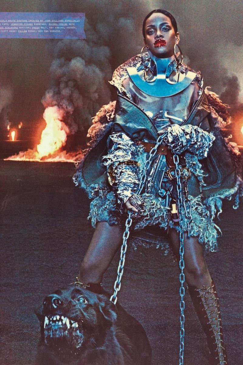 Rihanna poses in Maison Margiela Haute Couture cape