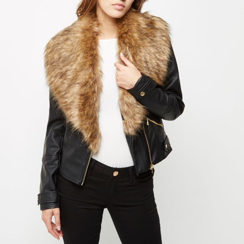 River Island Black Faux Fur Collar Jacket