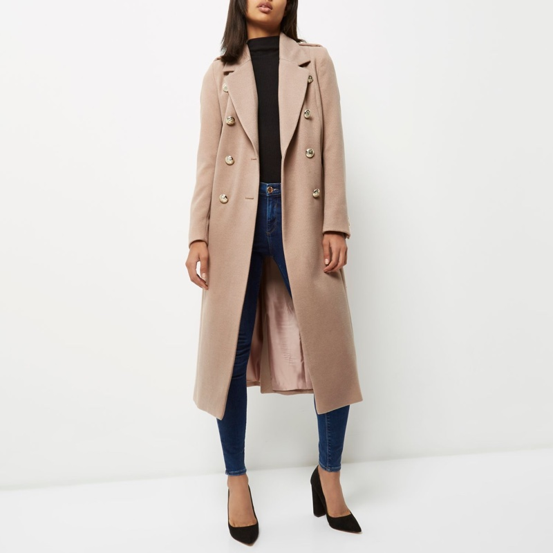 River Island Light Pink Double Breasted Military Coat