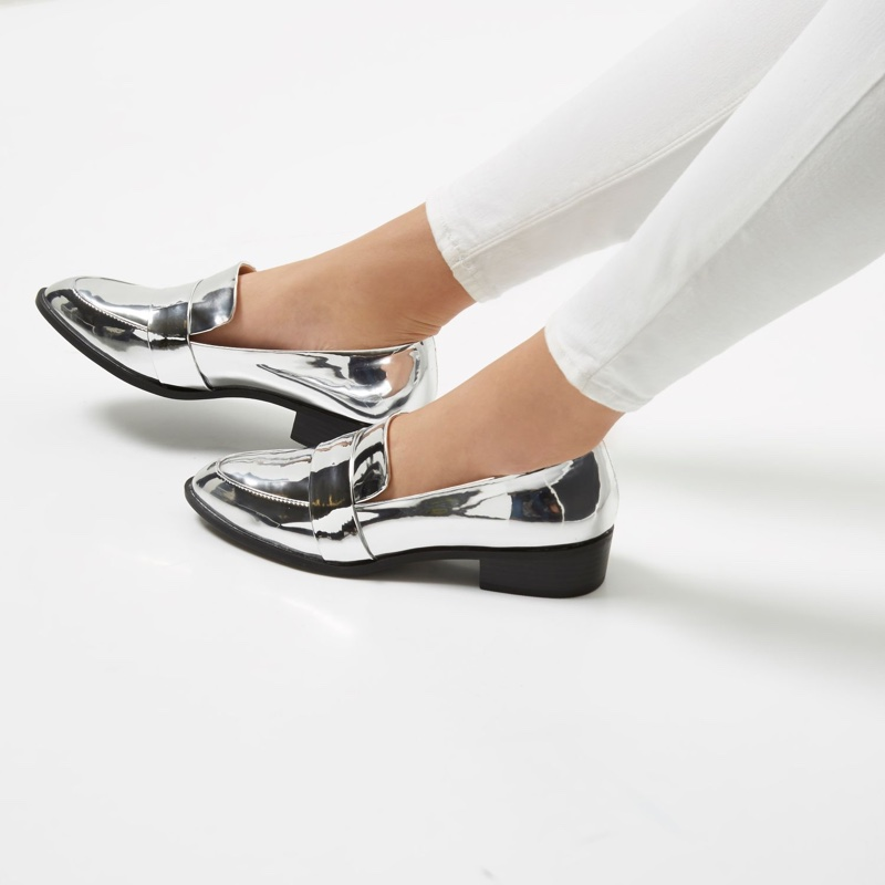 River Island Silver Patent Low Heel Loafers