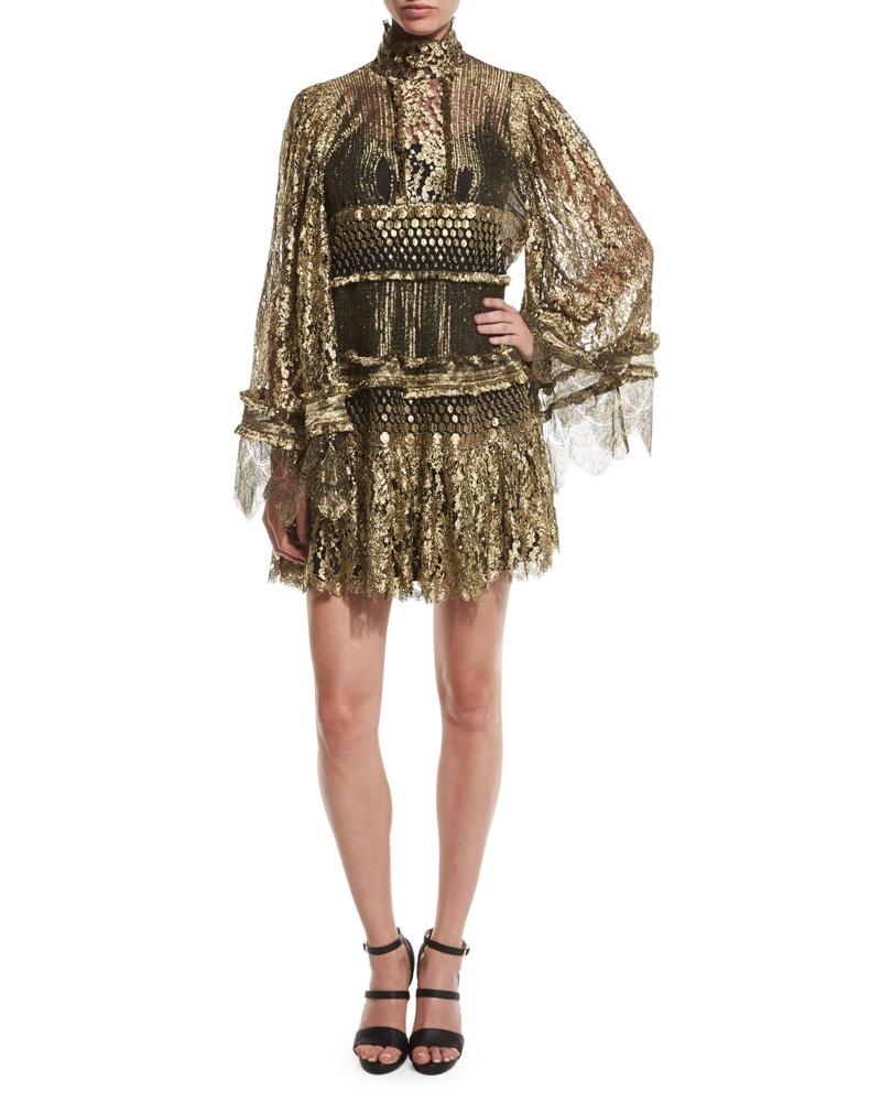 Roberto Cavalli Tiered Lace Bell Sleeve Mini Dress