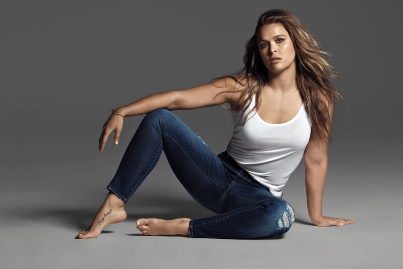 Ronda Rousey wears slim-fit jeans in Buffalo Jeans' fall-winter 2016 campaign
