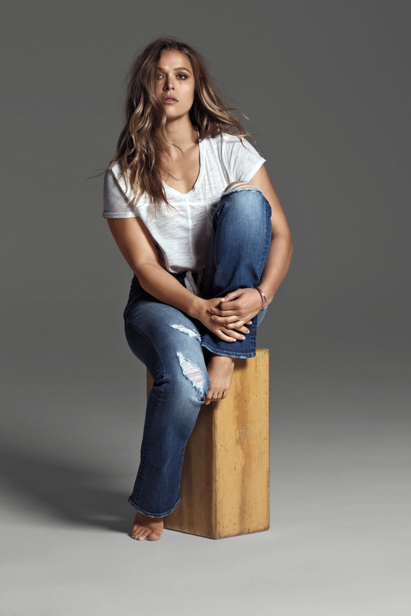 Ronda Rousey models distressed jeans from Buffalo Jeans