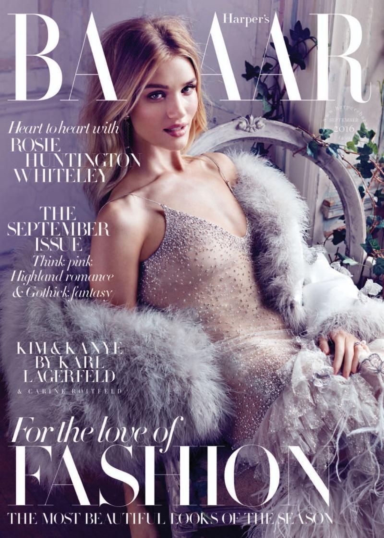 Rosie Huntington-Whiteley on Harper's Bazaar UK September 2016 Cover