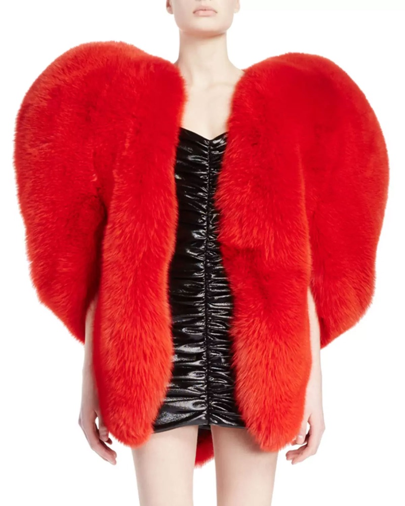 Saint Laurent Heart Shaped Fur Cape