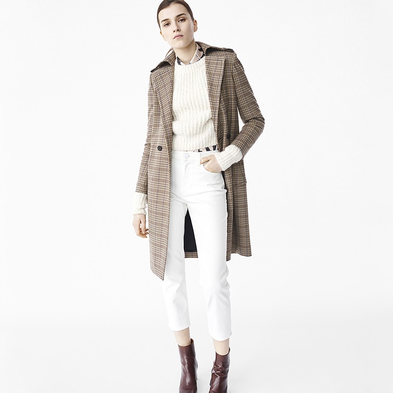 Sandro Fall 2016: plaid coat, ribbed knit sweater and white denim pants